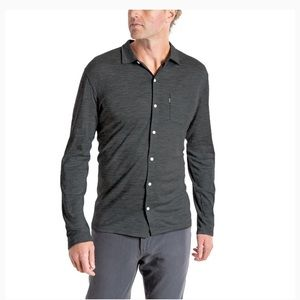 Woolly Long Sleeve Button Up Everyday Gray Large
